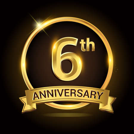 6th golden anniversary , with shiny ring and ribbon, laurel wreath isolated on black background, vector design