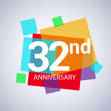 32nd anniversary logo, vector design birthday celebration with colorful geometric isolated on white background.