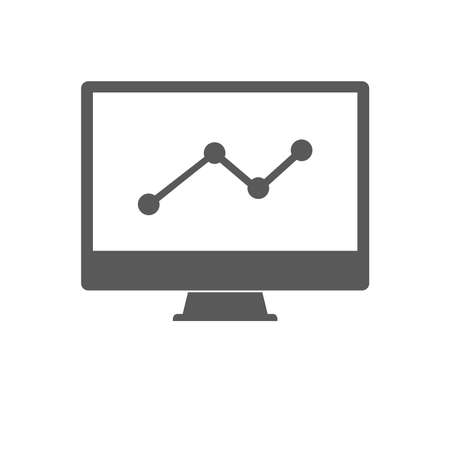 Statistics on desktop Icon vector isolated on white background. Graph symbol for your design, logo, application, presentation, UI.