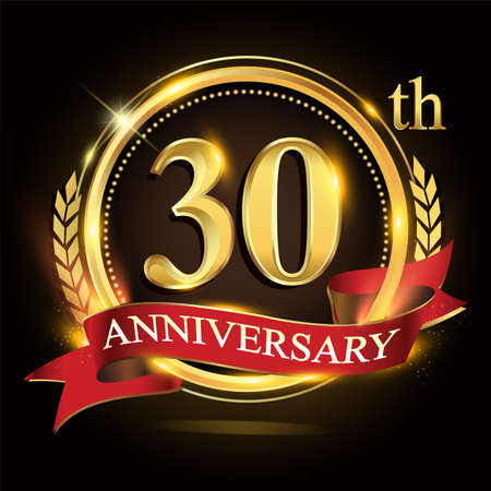 30th golden anniversary logo, with shiny ring and red ribbon, laurel wreath isolated on black background, vector design for birthday celebration.