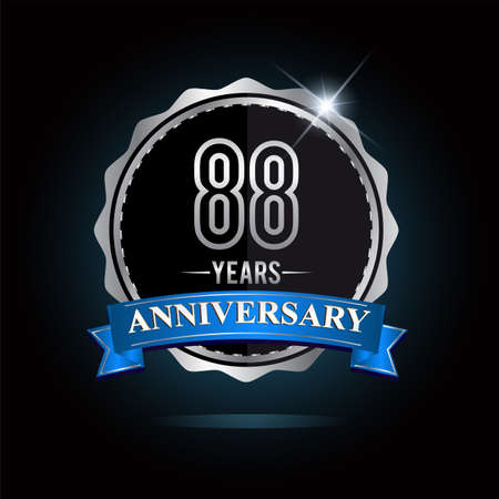 88th anniversary logo with blue ribbon and silver shiny badge, vector design for birthday celebration Logos