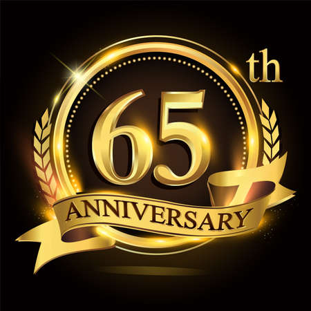 65th golden anniversary logo with ring and ribbon, laurel wreath vector design.