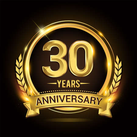 Celebrating 30th years anniversary logo with golden ring and ribbon, laurel wreath vector design.