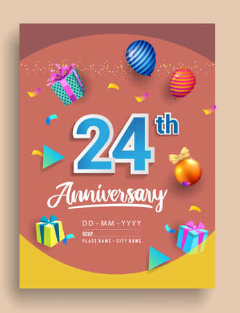 24th Years Anniversary invitation Design, with gift box and balloons, ribbon, Colorful Vector template elements for birthday celebration party.