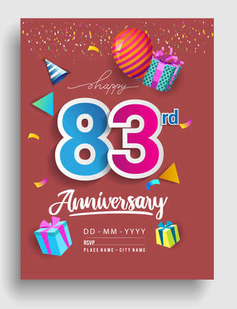 83rd Years Anniversary invitation Design, with gift box and balloons, ribbon, Colorful Vector template elements for birthday celebration party.