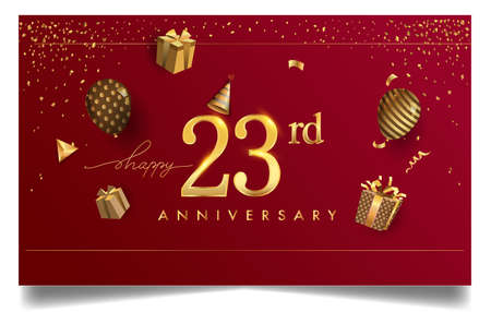 23rd years anniversary design for greeting cards and invitation, with balloon, confetti and gift box, elegant design with gold and dark color, design template for birthday celebration