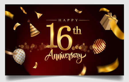16th years anniversary design for greeting cards and invitation, with balloon, confetti and gift box, elegant design with gold and dark color, design template for birthday celebration 矢量图像