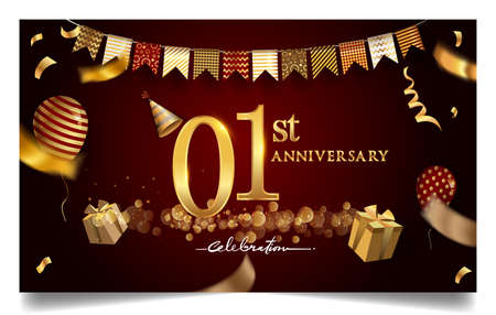 1st year anniversary design for greeting cards and invitation, with balloon, confetti and gift box, elegant design with gold and dark color, design template for birthday celebration