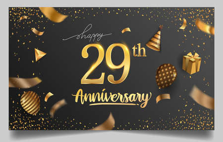 29th years anniversary design for greeting cards and invitation, with balloon, confetti and gift box, elegant design with gold and dark color, design template for birthday celebration