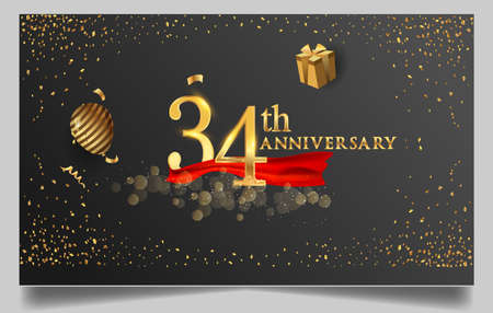 34th years anniversary design for greeting cards and invitation, with balloon, confetti and gift box, elegant design with gold and dark color, design template for birthday celebration