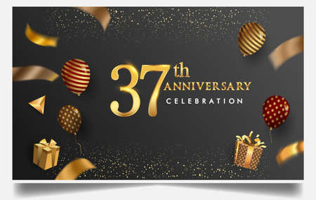 37th years anniversary design for greeting cards and invitation, with balloon, confetti and gift box, elegant design with gold and dark color, design template for birthday celebration Stock Illustratie