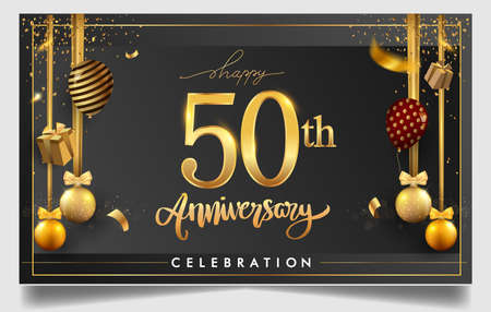 50th years anniversary design for greeting cards and invitation, with balloon, confetti and gift box, elegant design with gold and dark color, design template for birthday celebration Stock Illustratie