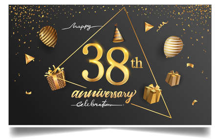38th years anniversary design for greeting cards and invitation, with balloon, confetti and gift box, elegant design with gold and dark color, design template for birthday celebration