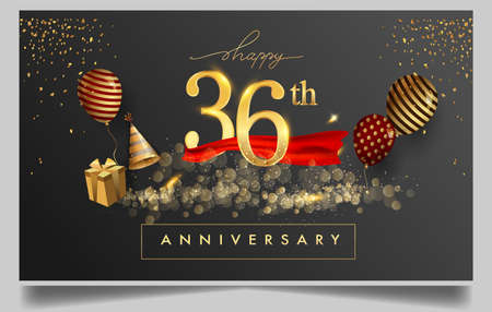 36th years anniversary design for greeting cards and invitation, with balloon, confetti and gift box, elegant design with gold and dark color, design template for birthday celebration
