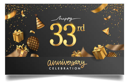 33rd years anniversary design for greeting cards and invitation, with balloon, confetti and gift box, elegant design with gold and dark color, design template for birthday celebration