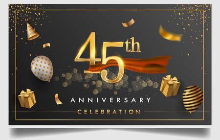 45th years anniversary design for greeting cards and invitation, with balloon, confetti and gift box, elegant design with gold and dark color, design template for birthday celebration Stock Illustratie