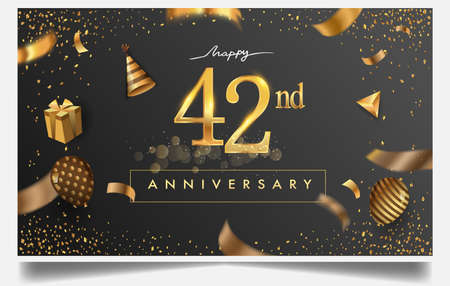 42nd years anniversary design for greeting cards and invitation, with balloon, confetti and gift box, elegant design with gold and dark color, design template for birthday celebration