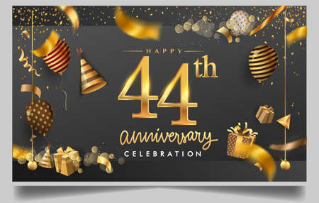 44th years anniversary design for greeting cards and invitation, with balloon, confetti and gift box, elegant design with gold and dark color, design template for birthday celebration