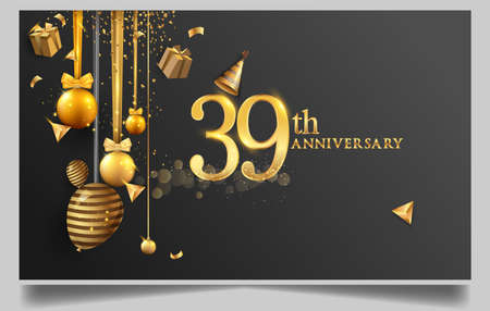39th years anniversary design for greeting cards and invitation, with balloon, confetti and gift box, elegant design with gold and dark color, design template for birthday celebration