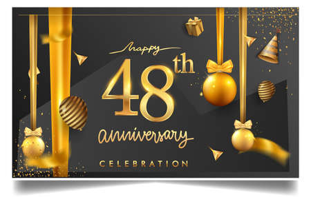 48th years anniversary design for greeting cards and invitation, with balloon, confetti and gift box, elegant design with gold and dark color, design template for birthday celebration Stock Illustratie