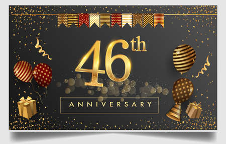 46th years anniversary design for greeting cards and invitation, with balloon, confetti and gift box, elegant design with gold and dark color, design template for birthday celebration