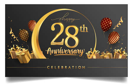 28th years anniversary design for greeting cards and invitation, with balloon, confetti and gift box, elegant design with gold and dark color, design template for birthday celebration Stock Illustratie