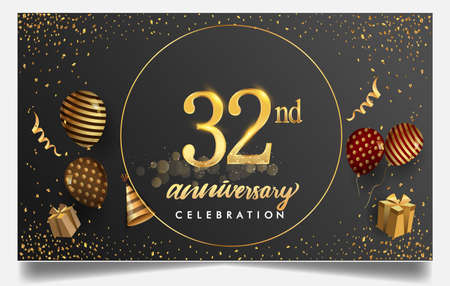 32nd years anniversary design for greeting cards and invitation, with balloon, confetti and gift box, elegant design with gold and dark color, design template for birthday celebration