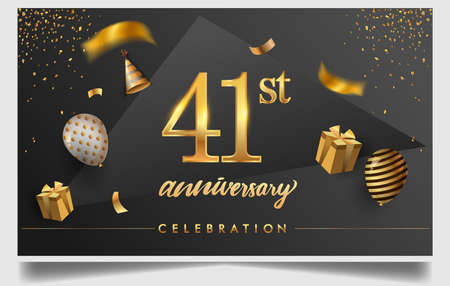 41st years anniversary design for greeting cards and invitation, with balloon, confetti and gift box, elegant design with gold and dark color, design template for birthday celebration