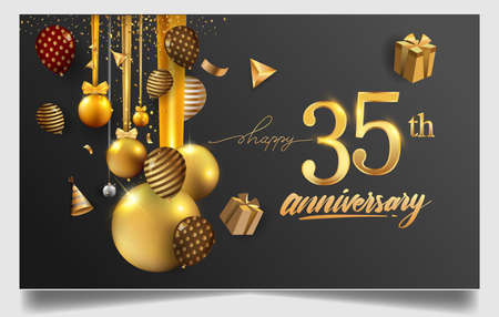 35th years anniversary design for greeting cards and invitation, with balloon, confetti and gift box, elegant design with gold and dark color, design template for birthday celebration Stock Illustratie