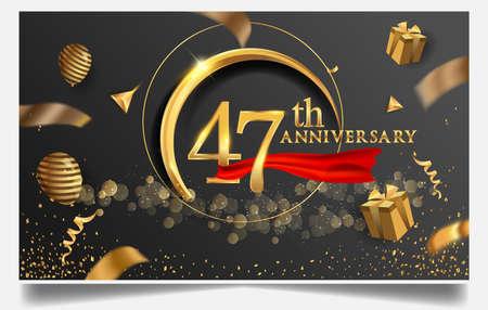 47th years anniversary design for greeting cards and invitation, with balloon, confetti and gift box, elegant design with gold and dark color, design template for birthday celebration