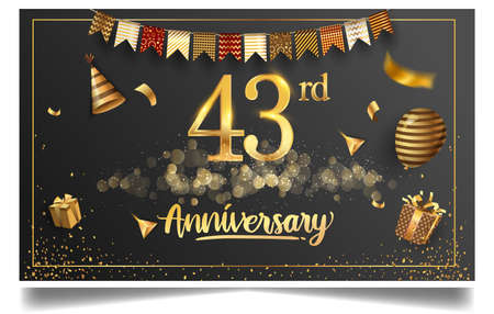 43rd years anniversary design for greeting cards and invitation, with balloon, confetti and gift box, elegant design with gold and dark color, design template for birthday celebration Stock Illustratie