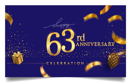 63rd years anniversary design for greeting cards and invitation, with balloon, confetti and gift box, elegant design with gold and dark color, design template for birthday celebration. Stock Illustratie