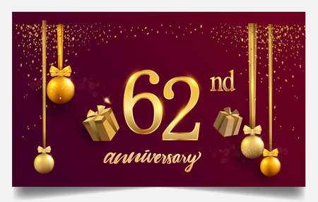 62nd years anniversary design for greeting cards and invitation, with balloon, confetti and gift box, elegant design with gold and dark color, design template for birthday celebration. 版權商用圖片 - 159619213