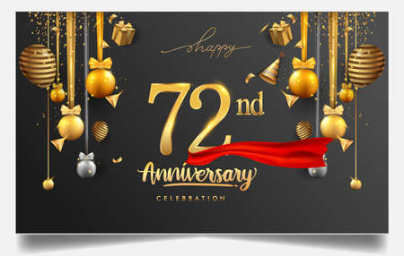 72nd years anniversary design for greeting cards and invitation, with balloon, confetti and gift box, elegant design with gold and dark color, design template for birthday celebration.