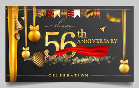 56th years anniversary design for greeting cards and invitation, with balloon, confetti and gift box, elegant design with gold and dark color, design template for birthday celebration.