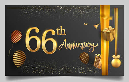 66th years anniversary design for greeting cards and invitation, with balloon, confetti and gift box, elegant design with gold and dark color, design template for birthday celebration.