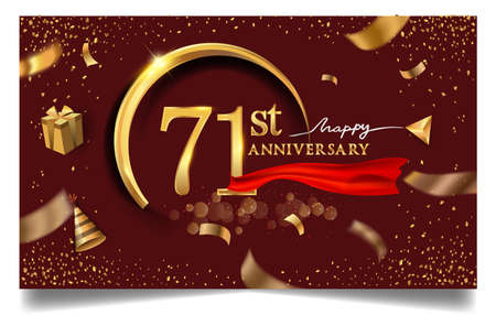 71st years anniversary design for greeting cards and invitation, with balloon, confetti and gift box, elegant design with gold and dark color, design template for birthday celebration.