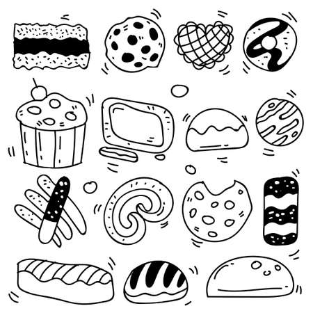 Set of drawings on the theme cakes. Cakes, pies, bread, biscuits and other confectionery products. vector illustration