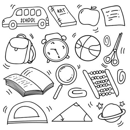 Set of hand drawn School clipart. Vector doodle school icons and symbols in doodle style, vector illustration