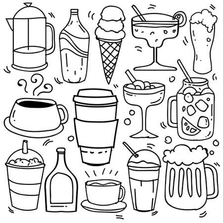 Hand drawn of beverages in doodle style isolated on white background, Vector hand drawn set beverages theme. Vector illustration Stock Illustratie