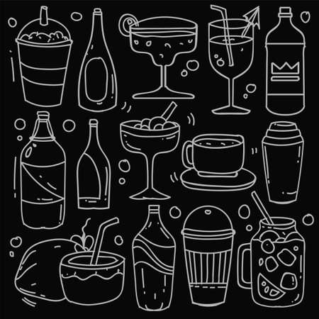 Hand drawn of beverages in doodle style isolated on black background, Vector hand drawn set beverages theme. Vector illustration Stock Illustratie