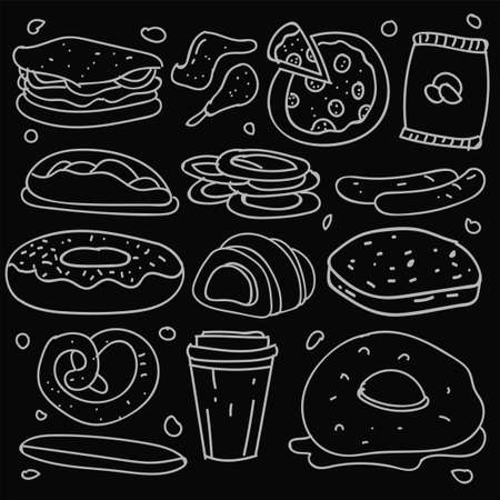 Set of hand drawn food isolated on black background, doodle set of fast food. Vector illustration 版權商用圖片 - 159620719