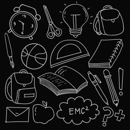 Set of hand drawn School clip-art. Vector doodle school icons and symbols in doodle style, vector illustration