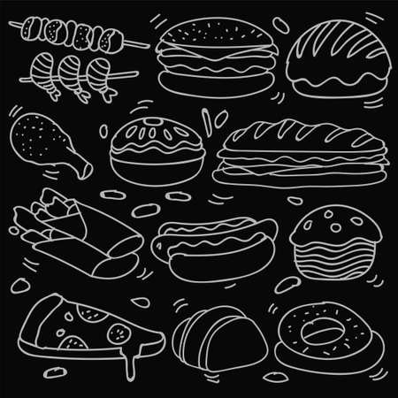 Set of hand drawn food isolated on black background, doodle set of fast food. Vector illustration 版權商用圖片 - 159620694