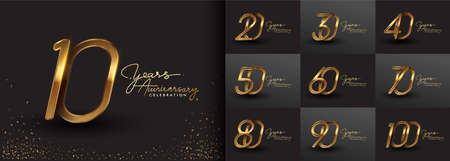 Set of anniversary logotype design with handwriting golden color for celebration event, wedding, greeting card, and invitation. Vector illustration.