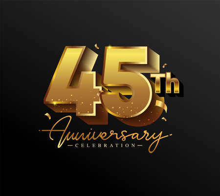 45th Anniversary Logotype with Gold Confetti Isolated on Black Background, Vector Design for Greeting Card and Invitation Card