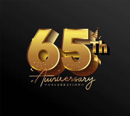 65th Anniversary Logotype with Gold Confetti Isolated on Black Background, Vector Design for Greeting Card and Invitation Card 向量圖像