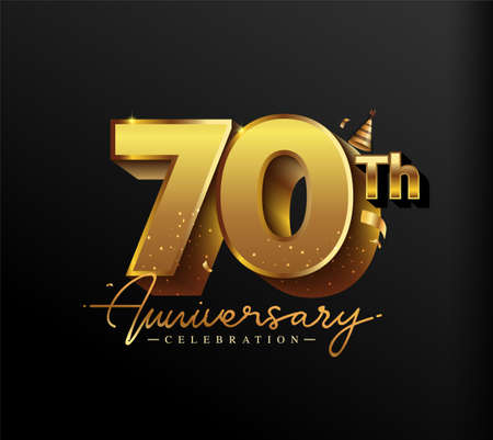 70th Anniversary Logotype with Gold Confetti Isolated on Black Background, Vector Design for Greeting Card and Invitation Card