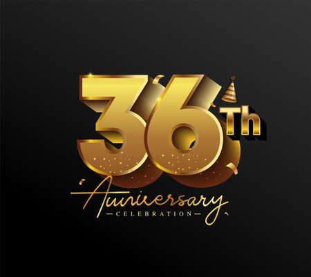 36th Anniversary Logotype with Gold Confetti Isolated on Black Background, Vector Design for Greeting Card and Invitation Card