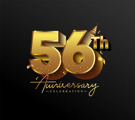 56th Anniversary Logotype with Gold Confetti Isolated on Black Background, Vector Design for Greeting Card and Invitation Card 向量圖像